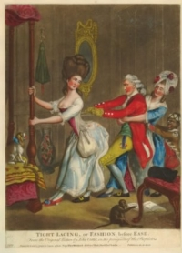 Painting of lady having her corset tightened