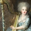 Painting of a lady playing a harp
